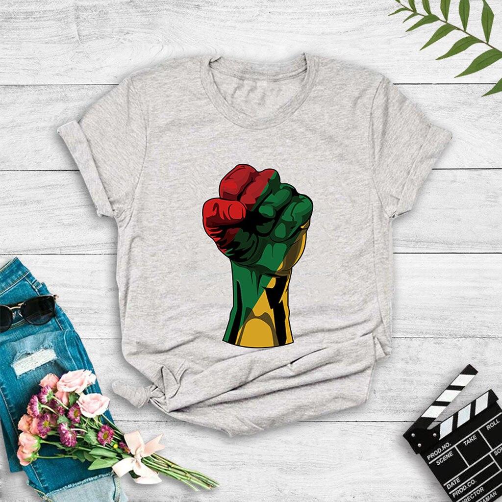Casual Fist Print Women T-shirt Summer Graphic Tees Women Playeras Mujer O-neck Short Sleeve T-shirts Femme