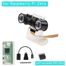 7 em 1 Caso Raspberry Pi Zero W Camera + Suporte + Acrílico + Dissipador de Calor + Adaptador Mini HDMI + Câmera RPI GPIO Header + Cabo USB