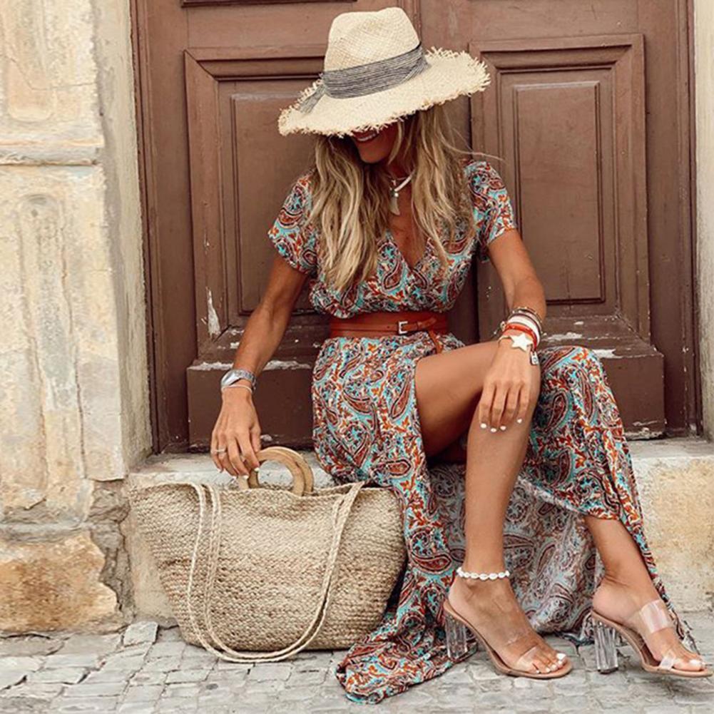 Boho Women Dress Paisley Print Large Hem Short Sleeve Slit Hem Maxi Dress with Belt for Work girls bow detail cherry print dip hem dress
