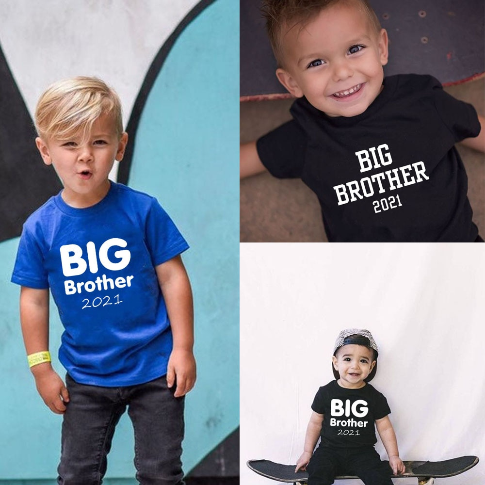 Big Brother 2021 Shirt Infant Toddler Big Brother Tshirt Big Bro 2021 Summer Short Sleeve Anouncement T-shirts Children Fashion