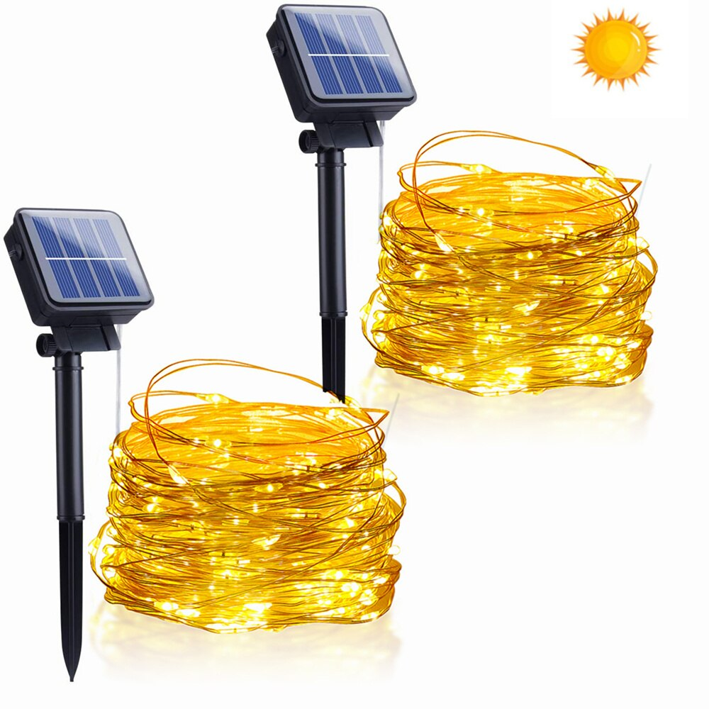 Outdoor LED Solar String Fairy Lights 10M 20M 8 Modes Flashing Lamp 100/200leds Waterproof for Christmas Garden Decoration