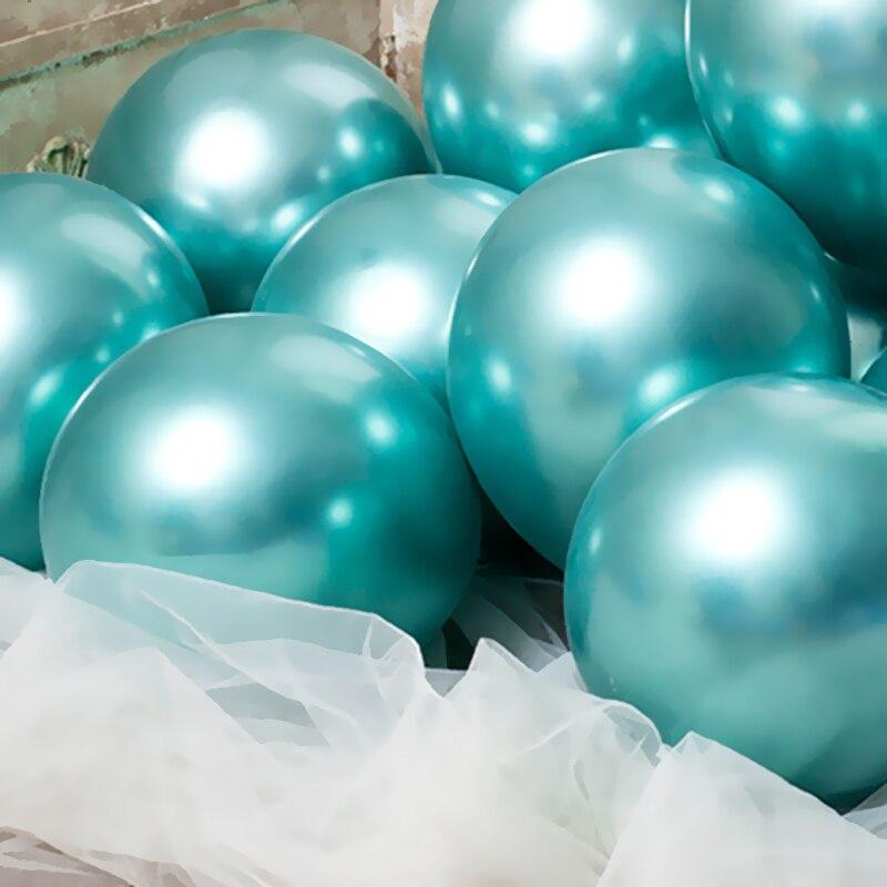 15 Uds. Globos de látex redondo metálico cromado de 10/12 pulgadas dorado, plateado, verde, para bodas, mercado de hotel, decoración de fiestas de cumpleaños, globo de helio