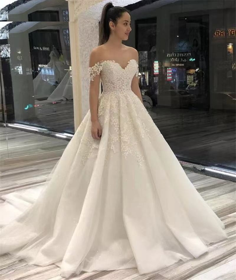 Wedding Dresses Off The Shoulder Sweep Train Tulle Lace Applique Wedding Bridal Dresses With Lace Up Back vestido de noiva