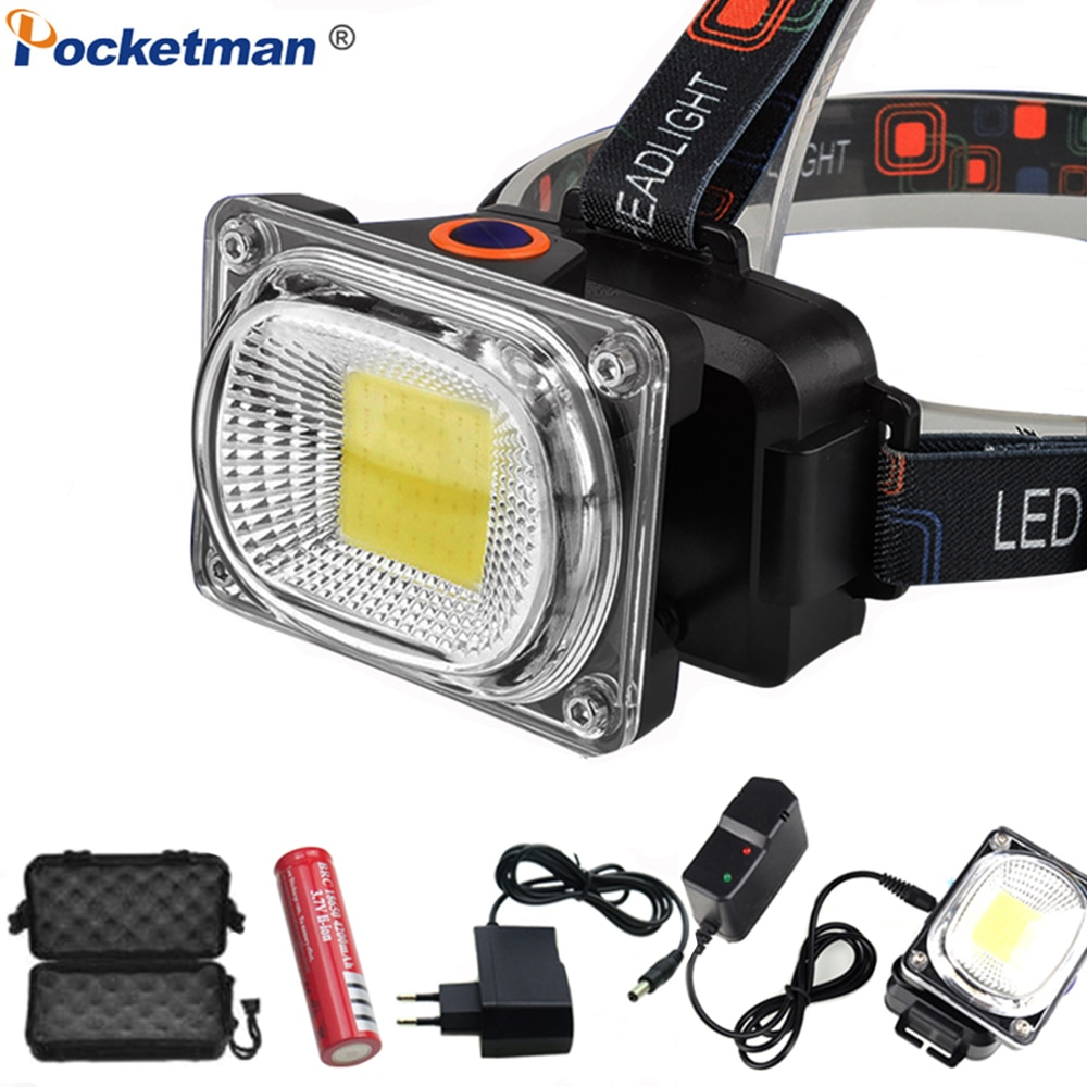 Linterna LED recargable, súper potente, COB, lámpara LED, DC, impermeable, uso de la lámpara frontal, 18650 batería, linterna frontal