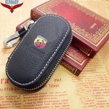 KUNBABY véritable sac en cuir véritable voiture clé étui couverture portefeuilles mode femme de ménage titulaires Carteira pour ABARTH