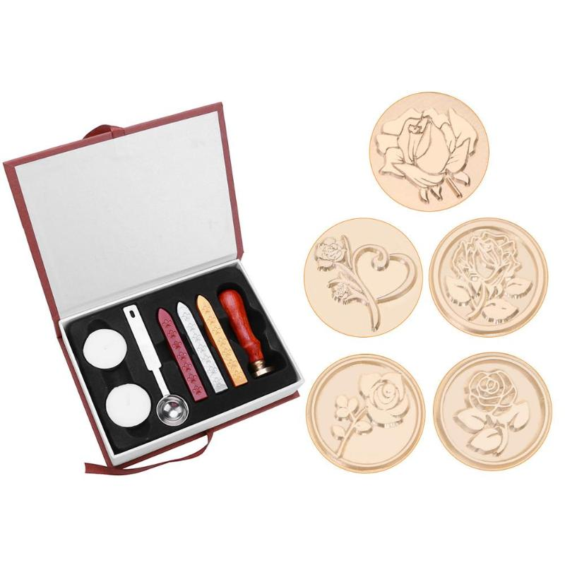 Conjunto de sellos de cera con estampado de rosas Vintage, caja de regalo, sello de sellado de sobres, reemplazo de herramientas de pasatiempo con cabeza de cobre