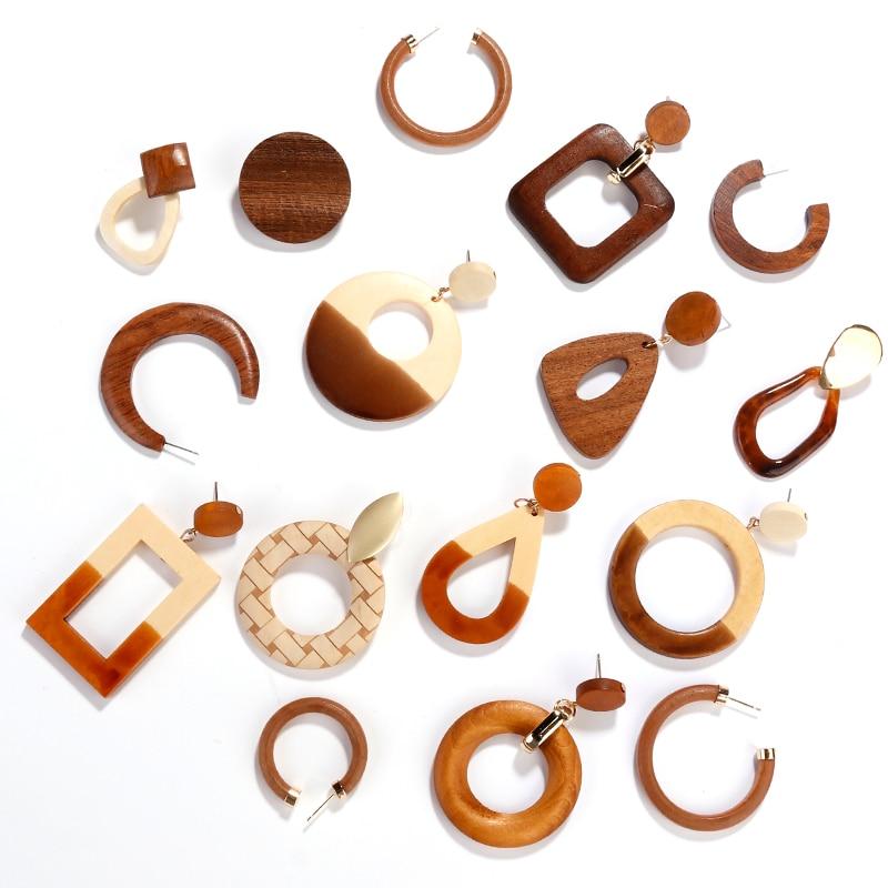 Женские серьги-подвески AENSOA, простые геометрические круглые квадратные деревянные длинные висячие серьги с натуральным сплайсингом, ювелирные изделия