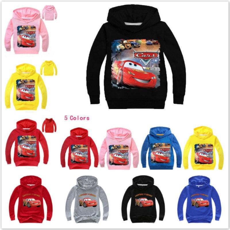 Bluza dziecięca Cartoon Pixar Cars zygzak McQueen koszulka z długim rękawem dla dzieci chłopców ubrania dla dzieci dziewczyna bluzy z kapturem Tee kostium