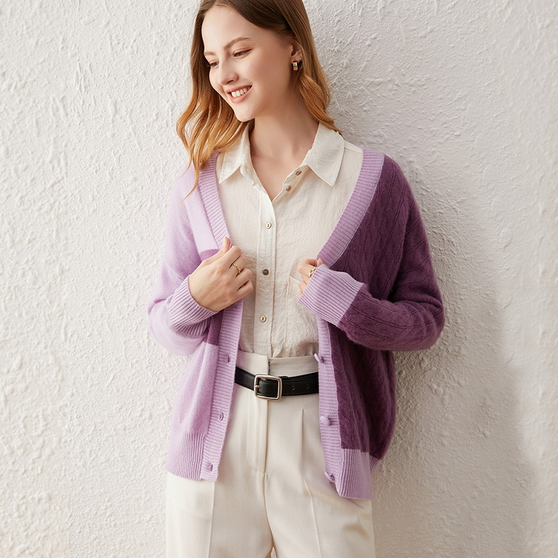 SuyaDream Woman Warm Cardigan 65%Cashmere 35%Wool Single Breasted V Neck Casual Sweaters 2021 Autumn Winter Outwears Purple enlarge