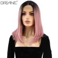 oriane synthetic bob straight lace front wigs for women black purple two color lolita cosplay wig high temperature fiber bob wig