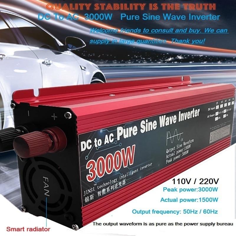 Чистая синусоида Инвертор DC 12 В/24 В к AC 110 В/220 В 800 Вт 1600 Вт 2200 Вт 3000 Вт трансформатор напряжения Преобразователь мощности Солнечный автомобил...