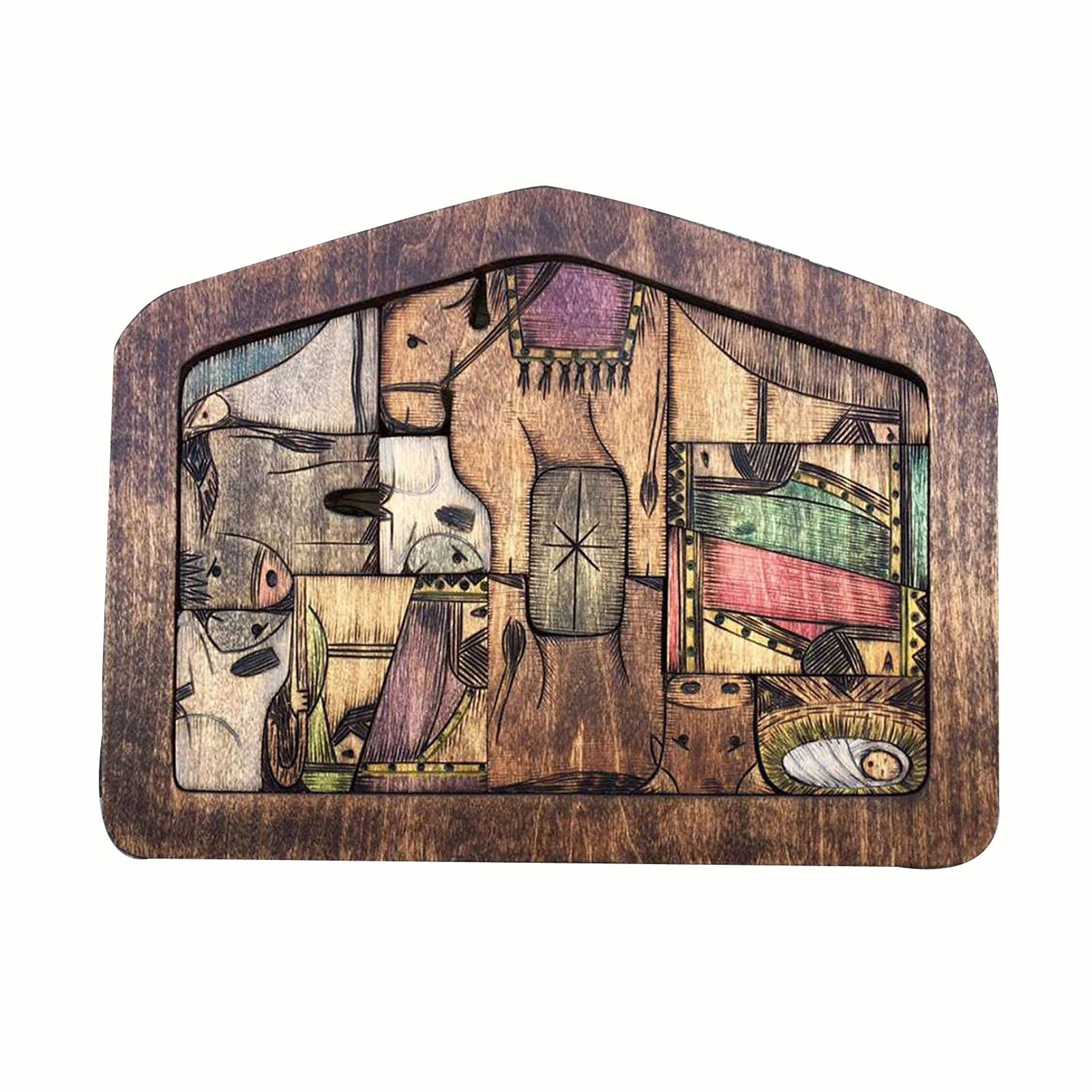 Фото - Nativity Puzzle with Wood Burned Design Wooden Jesus Puzzles Jigsaw Puzzle Game for Adults and Kids Home Decoration Accessories make and play nativity
