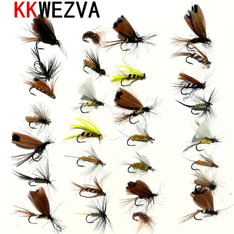 KKWEZVA 30pcs Fishing Lure Butter fly Insects different Style Salmon Flies Trout Single Dry Fly Fishing Lures Fishing Tackle beau beasley fly fishing virginia