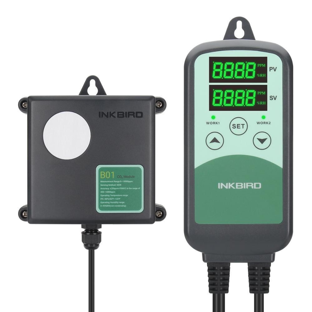 Monitor para Agricultura e Indústrias Controlador de Co2 Inkbird Sensor Digital Programável & Pecuárias Campo Industrial Icc-500t B01