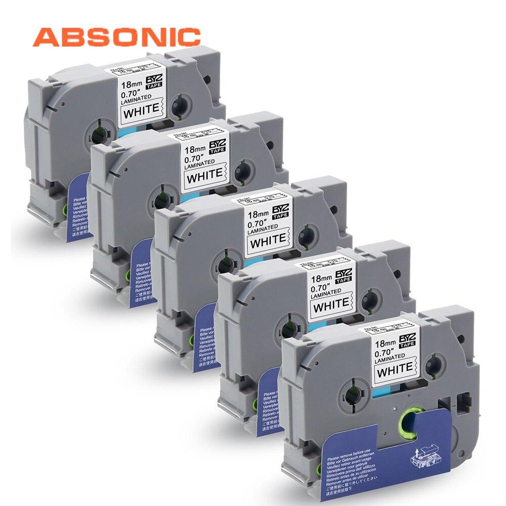 Absonic 5PK TZe-241 TZ-241 Cassette cinta TZe cinta Hermano Compatible P-touch PT-P700 PT-D600 etiquetadora, negro sobre blanco, 18mm * 8m