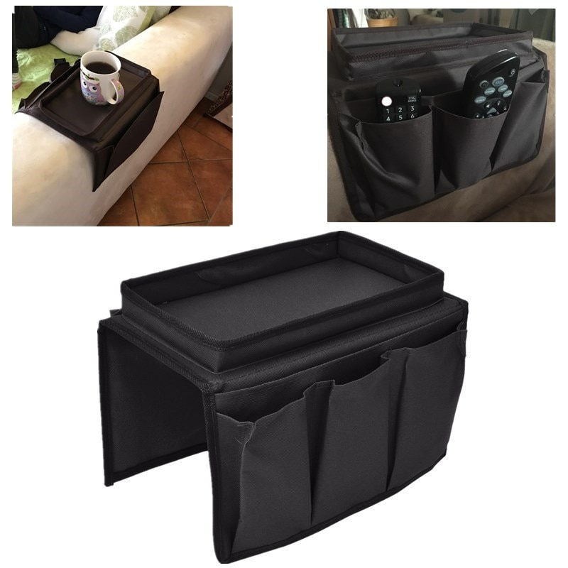 Suporte de braço para sofá, organizador dobrável para cadeira, sofá, de pano oxford 600d, suporte de armazenamento com copo, bandeja