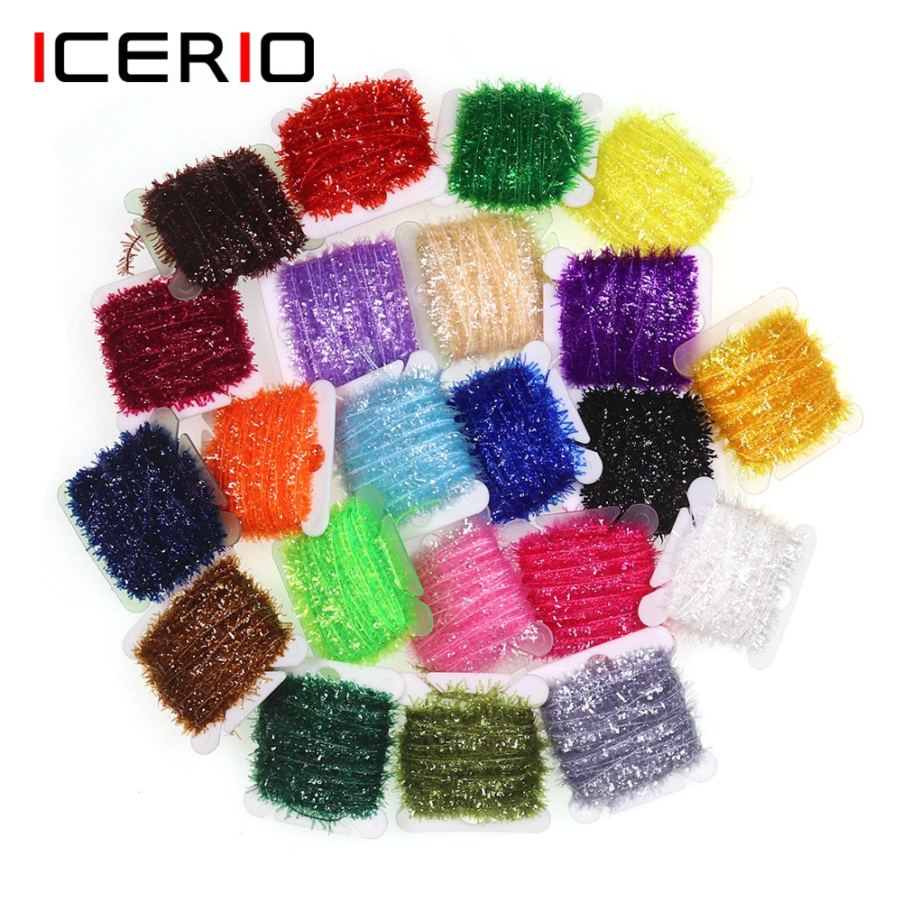 ICERIO 4PCS Ice Chenille Translucent Mylar Chenille Fly Tying Materials Nymph Streamers Lure Making icerio 50pcs fly tying brass beads nymph streamer bugs fly hook tying materials