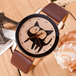 Watch For Women Stylish Women Watches  Cat Crystal Imitation Leather Quartz Wrist Watch Relogio Feminino Vrouwen Kijken