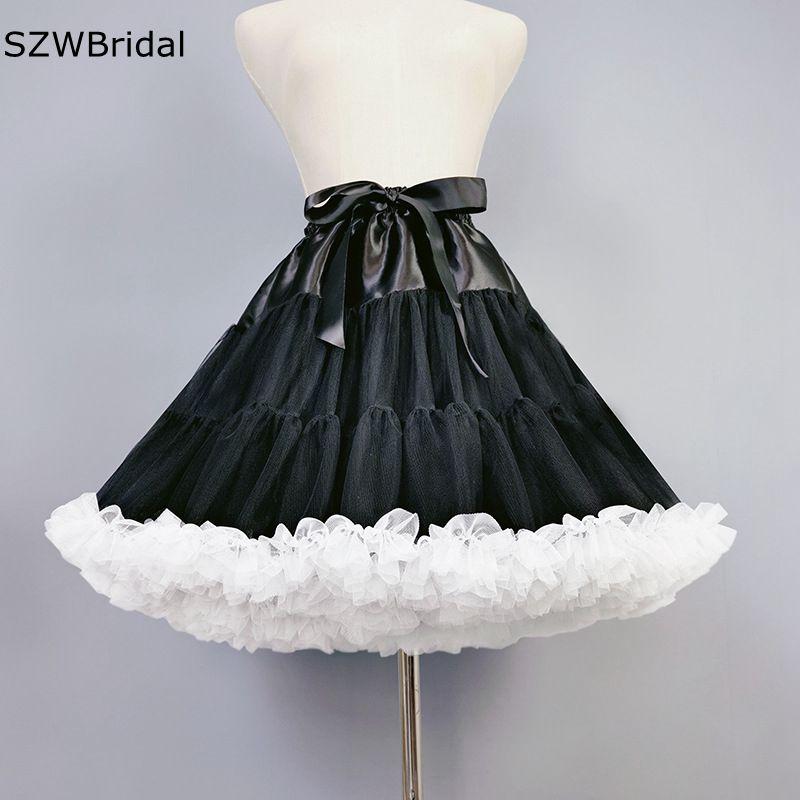 Nueva llegada tul negro enagua Jupon mariage Vestidos Enaguas borde blanco Enaguas...