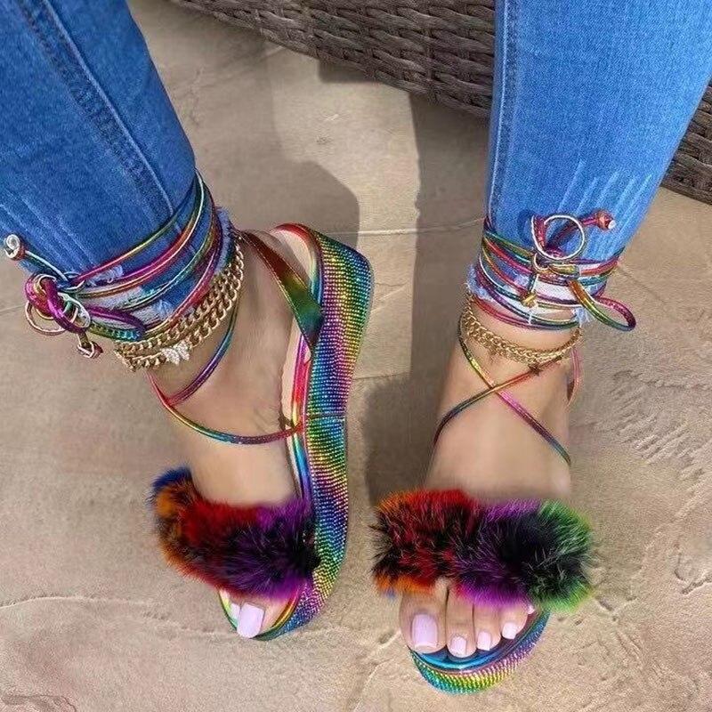 Platform Shoes Rhinestone Ankle Strap Furry Women Sandals 2021 Summer Colorful Furry Open-toe Women's Sandals Sandaleas De Mujer