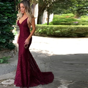 Sexy Evening Dresses Tulle Lace Pleat V-Neck Spaghetti Straps Backless Red Mermaid Gowns Novia Do 2021 New Party