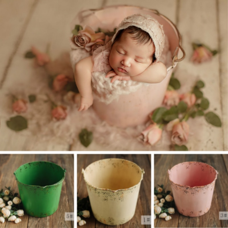 Colorful Iron Buckets Newborn Photography Props Retro Baby Posing Containers Do Old Baby Posing Props Infant Shoot Accessories