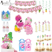 Flamingo Theme Party Supplies Summer Holiday Box Invitation Banner Hanging Straws Bags Cupcake Toppe