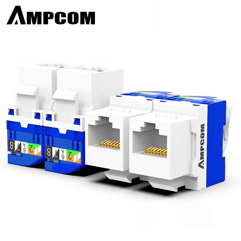 AMPCOM 10-Pack CAT6 RJ45 herramienta sin herramienta Keystone Jack, sin agujeros abajo herramienta necesaria UTP módulo conector blanco