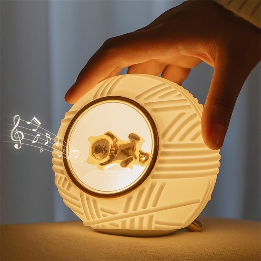 Cute Cat Night Light Yarn Ball Silicone Night Lamp With Music Box Kids Baby Bedroom Nursey Light Bat