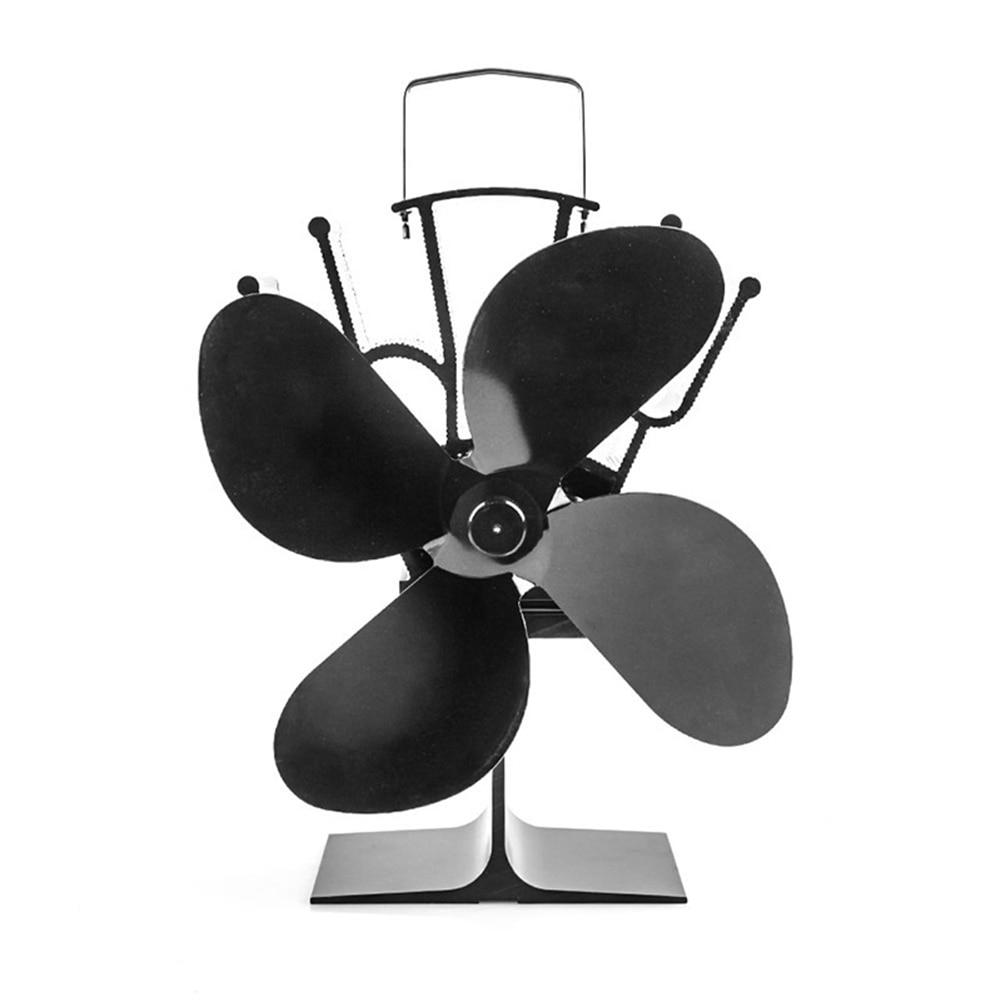 4 شفرات حرق موقد ايكو مروحة تعمل بالطاقة الحرارية مروحة تعمل بالطاقة الحرارية هادئة المنزل الموقد مروحة كفاءة توزيع الحرارة
