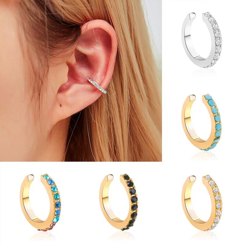 Brincos falsos geométricos de strass, piercing feminino de cristal, punho na orelha, brincos com clipe para brincos, joia única feminina
