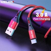 Кабель USLION USB Type-C для Samsung S9 S8 S10 Xiaomi mi9 mi8 Huawei мобильный телефон, кабель для быстрой зарядки, 2 м, 3 м