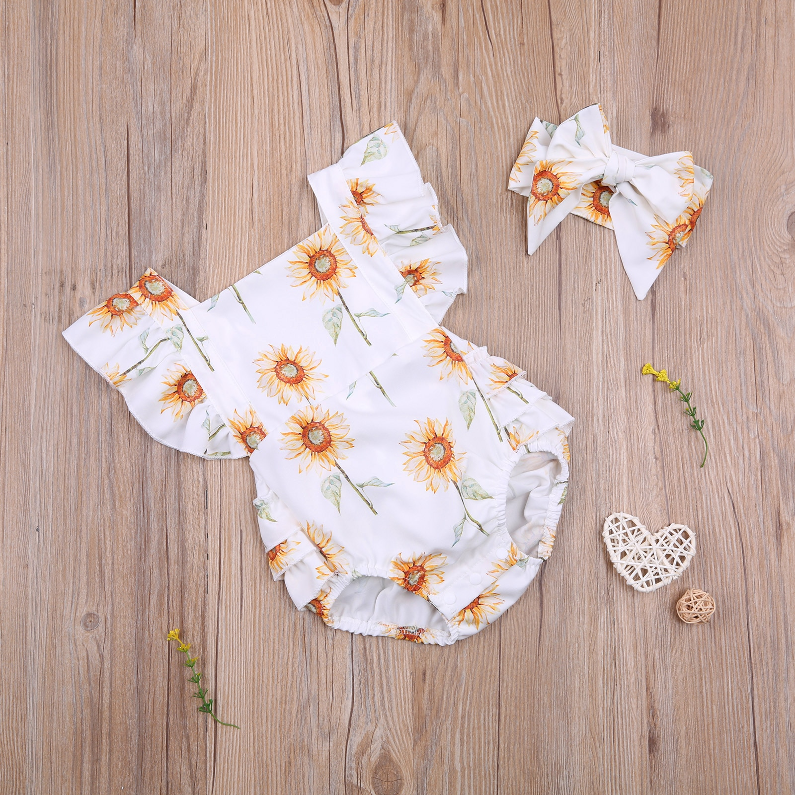 0-24M Baby Girl's 2Pcs Breathable Outfit, Creative Sunflower Printing Fresh Fly Sleeve Suspender Romper + Bow Headwear Summer