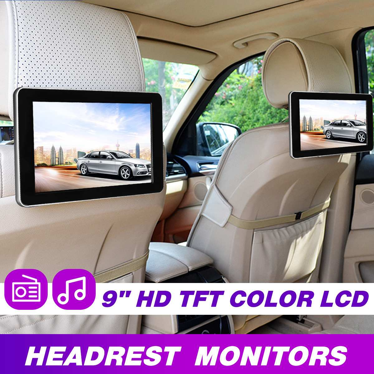 9 Inch Car HD Headrest Audio Monitor TFT Color LCD Display Digital Screen AV Input Radio Support Backup Camera MP5 Player