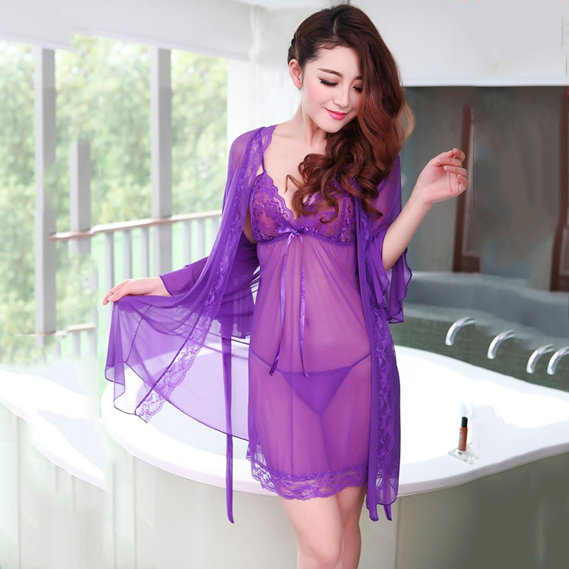 Ladies High-End Mesh Sexy Sling Nightdress Nightgown Three-Piece Suit Ladies Lace Temptation Deep V Sexy Lingerie black sexy mesh sling deep v female back split lace lace white homedress sleepwear night dress two piece suit
