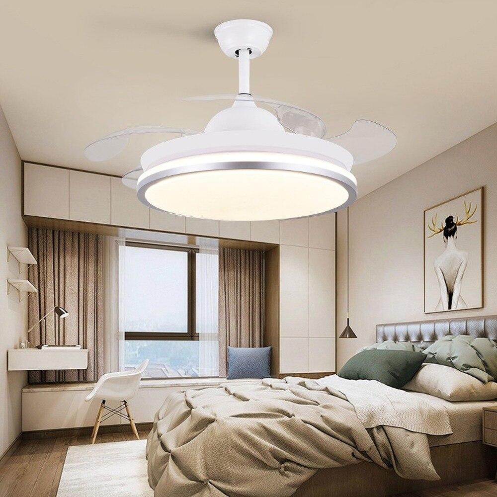 Led مروحة سقف مصباح مع جهاز التحكم عن بعد التعميم تيار مستمر مصباح التردد لتزيين غرفة النوم ، قابل للسحب وعكس