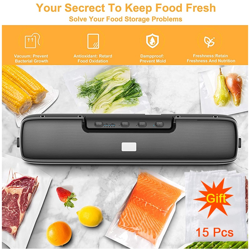 فراغ السدادة ماكينة تغليف الطعام 5 مللي متر ختم العرض حقيبة بلاستيكية السدادة مع 15 أكياس مكنسة التخزين في المطبخ Sous فيديو الغذاء