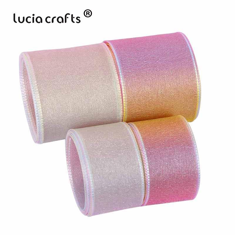 5 yardas 25mm/40mm gradiente Arco Iris Organza gasa cintas DIY costura arco artesanía Navidad boda regalo embalaje Material P0710