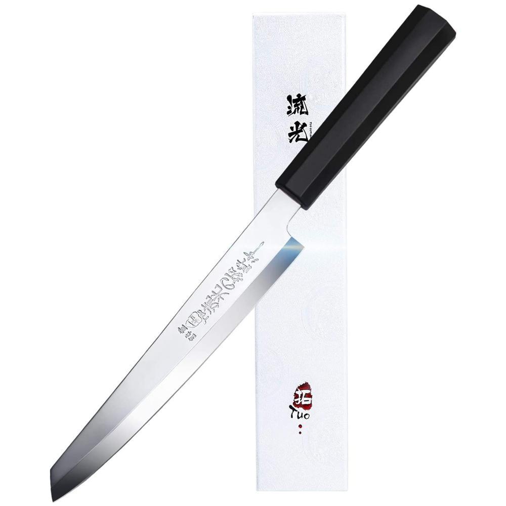 """Cuchillo de Sushi TUO Sashimi-8,25 """"Cuchillo Yanagiba para zurdos cuchillo para filetear japonés-Hoja de bisel simple afilada (izquierda)"""