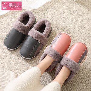 Waterproof Indoor Shoes Woman Men Winter Home Slippers Faux Leather Warm Plush Lovers House Floor Slipper Anti-slip Footwear