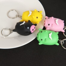 Cochon forme pendentif porte-clés lumière LED son porte-clés Mini lampe de poche enfants jouet femmes filles fête bijoux cadeau