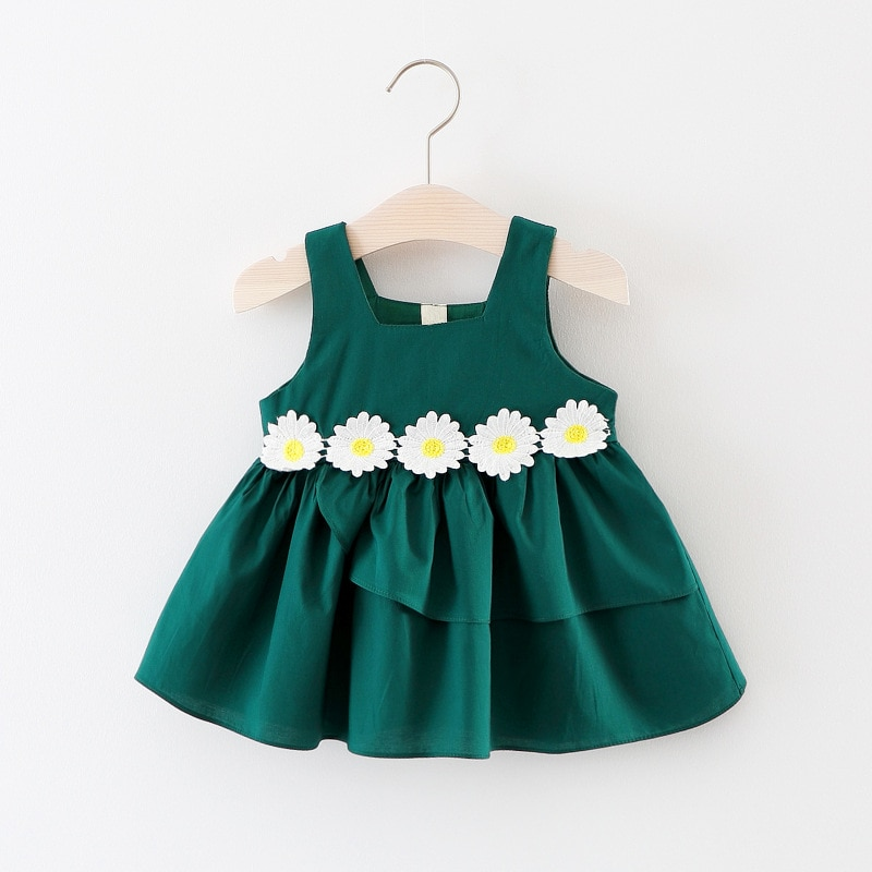 2021Kid Dress Baby Girl Summer Clothes Casual Cotton Elegant Yellow Party Fairy A-Line Skirt Cute Princess Beauty Floral Costume