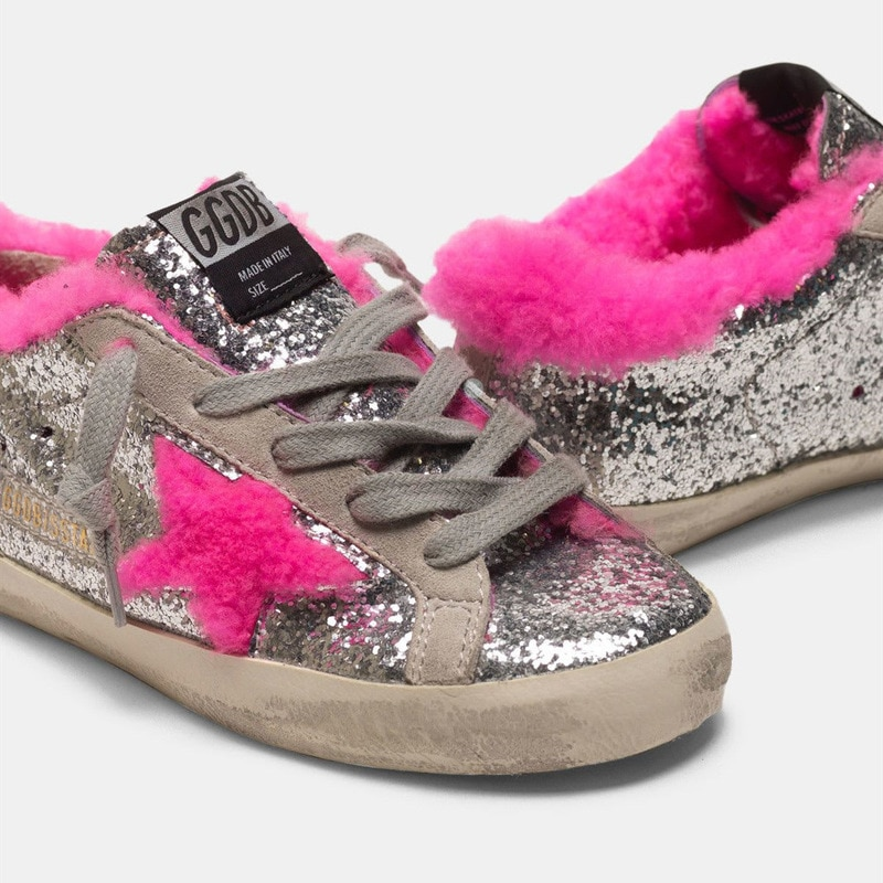 Children's Winter New Products Silver Sequined Lamb Hair  Old Small Dirty Shoes Boys and Girls Casual Parent-child Shoes CS200 enlarge