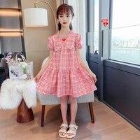2021 plaid teen girls dress pink summer clothes toddler baby girls vestidos girl dress beach teenage 10 12 8 years