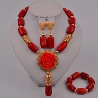 fashion red african coral beads flower necklace nigerian wedding bridal jewelry sets 315 c3