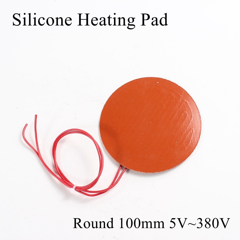 Круглый 100 мм 5 в 12 В 24 в 36 в 48 в 110 В 220 В 380 В силиконовый нагревательный коврик резиновый тепловой коврик Подогреваемая кровать пластина Гибкая Водонепроницаемая 3D печать