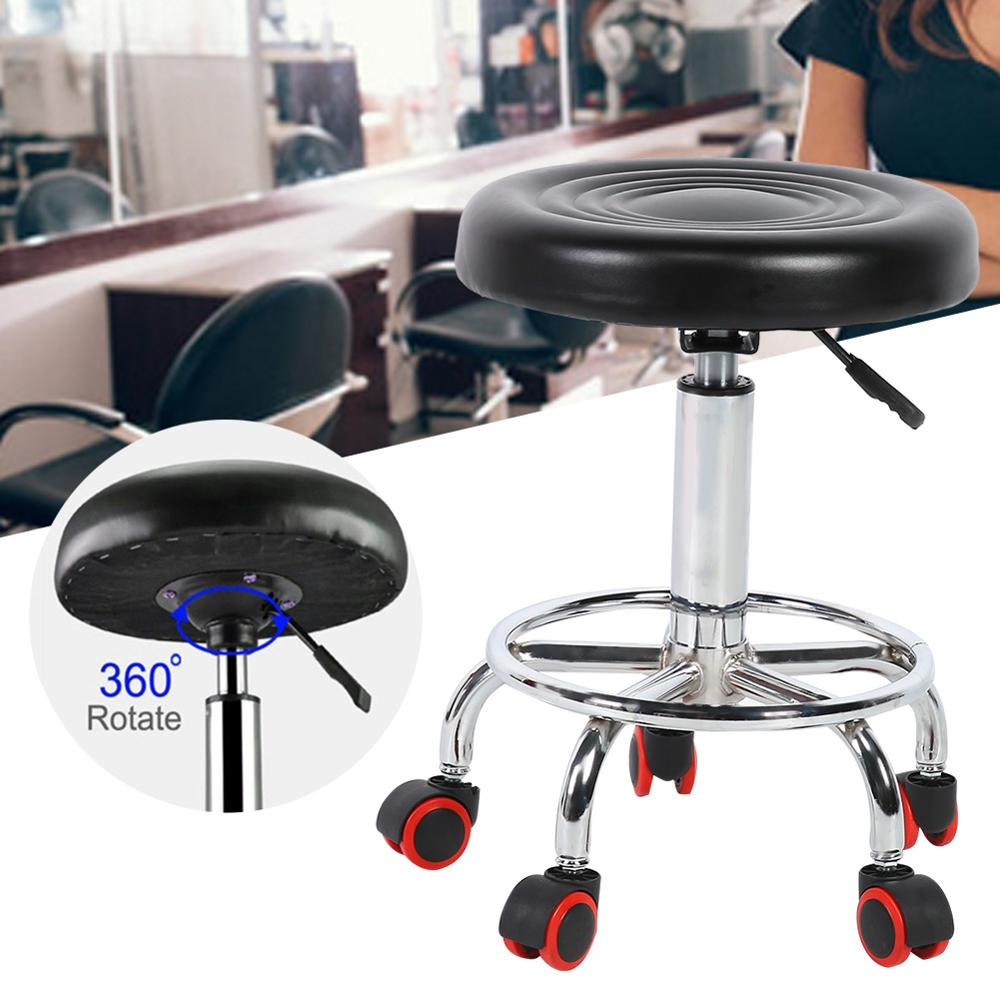Height Adjustable Salon Stool Rolling Swivel Stool Tattoo Massage Spa Chair BlackSalon Home Furniture