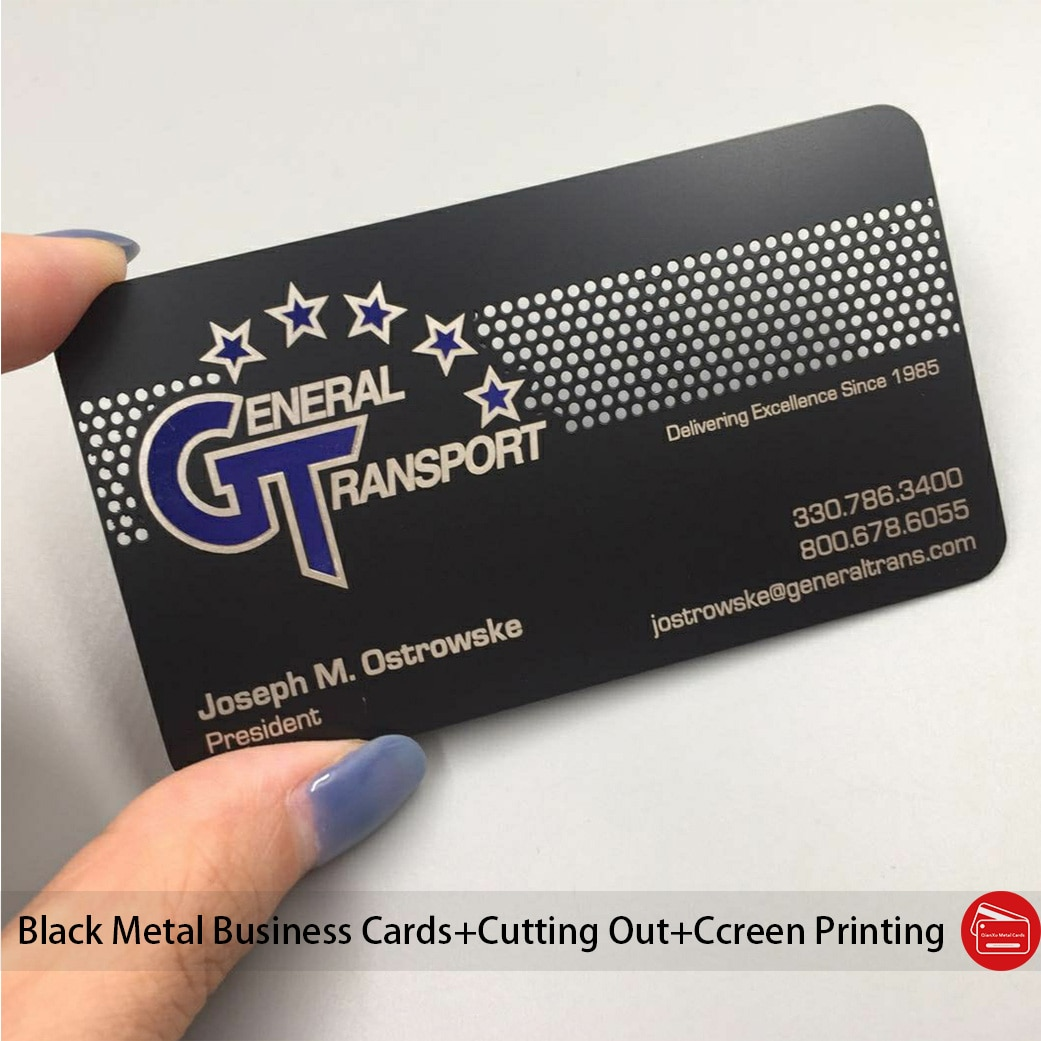 100pcs Metal business cards plated matt black color with cutting out/deep etching screen printing panton