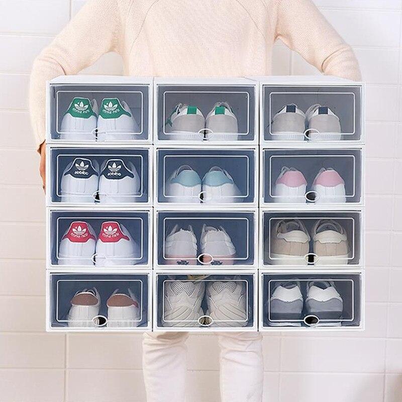 Casa criativa gaveta dobrável armazenamento boxe combinação 6pc transparente portátil ambiental multi-purpose à prova de poeira sapatos caixa