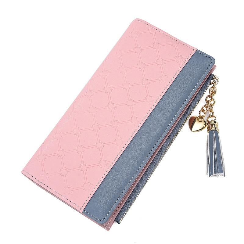 Diseño de última moda, estilo de borla, tarjetero, bolsillo para teléfono, lindo monedero para mujer, monedero largo, carteras de cuero para mujer